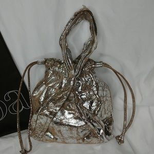 Unique Kooba Drawstring Cinch Silver Metallic Bag